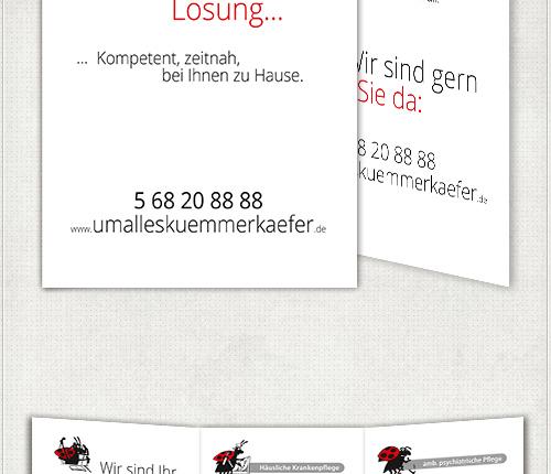 Gestaltung eines sechsseitigen Flyers für Umalleskümmerkäfer in Berlin Neukölln