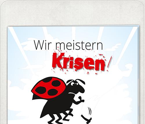 Vorderseite des quadratischen Flyers mit Krisen-Käfer und positivem Slogan