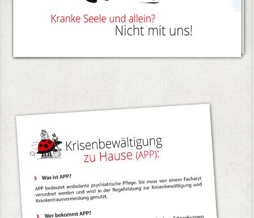 Flyer für psychiatrische Pflege mit Um-alles-kümmer-Käfer