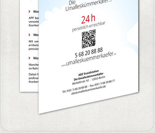 Rückseite mit wolkigem Flyer - Design und Kontaktdaten