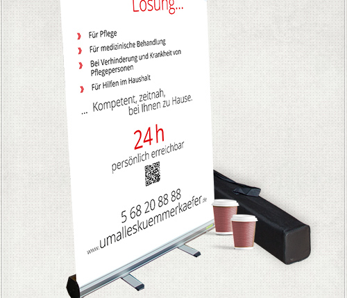 2 Meter hohes Werbe-Banner mit Info, QR-Code und Kontakt