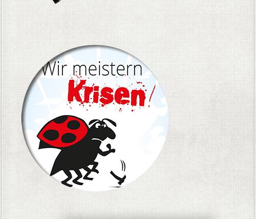 CloseUp vom RollUp-Banner psychiatrische Pflege mit Käfer und Wir meistern Krisen - Slogan