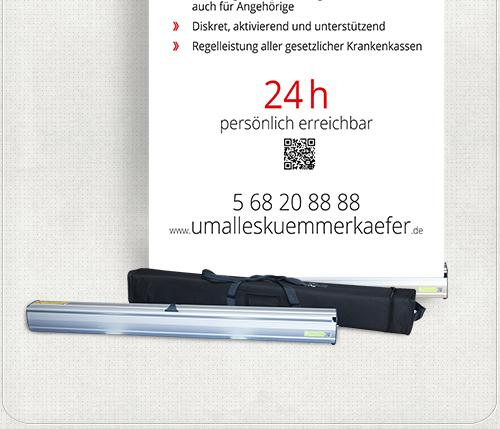 Gestaltung eines transportablen Roll-Up-Banners für die Um-alles-kümmer-Käfer