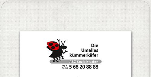 Visitenkarte mit Marienkäfer für die ABZ Sozialstation