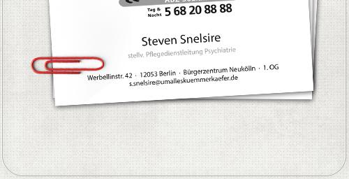 Gestaltung von Visitenkarten mit Kontaktdaten der Ansprechpartner