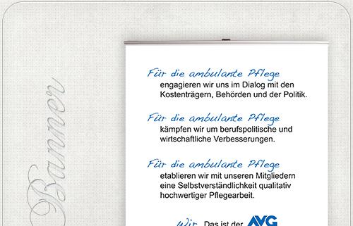 ausziehbares Banner mit Werbung für den AVG