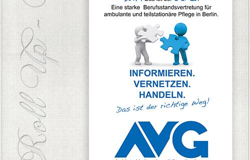 Design des RollUps mit Logo, Grafik, Slogan und Texten