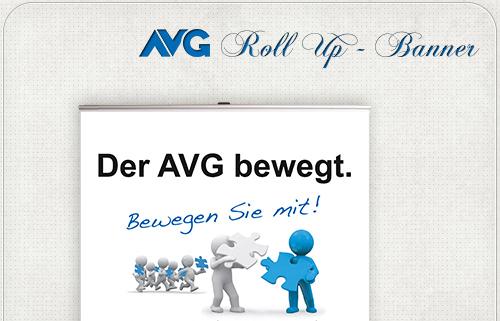 RollUp-Banner mit Slogan und Grafik für den AVG