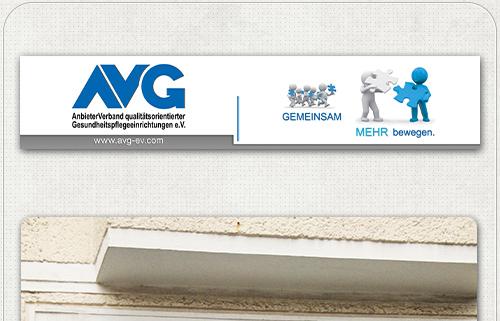Gestaltung eines Firmenschildes mit AVG-Logo, Kontakt und Slogan
