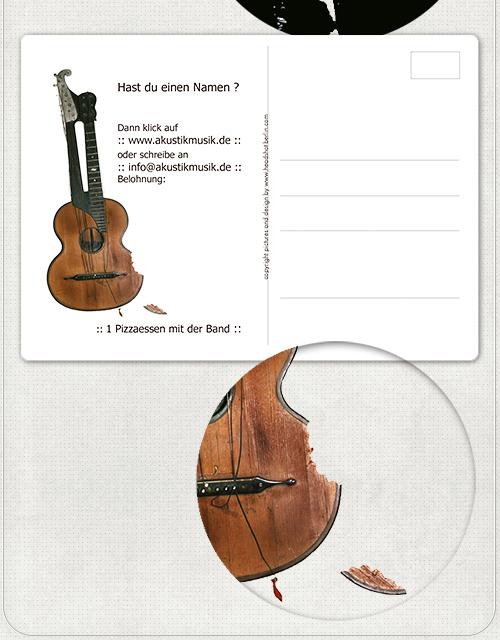 Fotoaufnahme von Gitarre für Rückseite der Postkarte