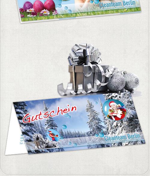 Gestaltung der Weihnacht-Gutscheinkarten mit Wintermotiv