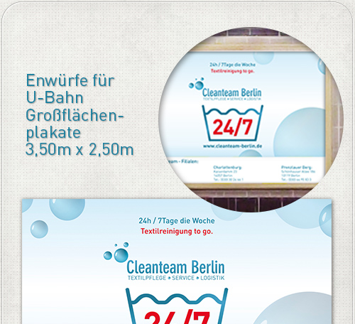 Entwurf für U-Bahn Großflächen-Plakate mit riesiger 24-7 Werbung