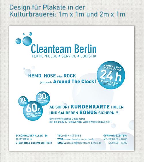 Gestaltung des 1m x1m großen Werbeplakates für Kundenkarten vom Cleanteam