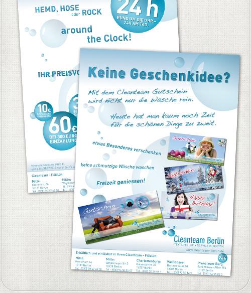 Gestaltung von DIN A2 Plakaten zur Gutscheinaktion und Kundenkarten-Aktion des Cleanteams