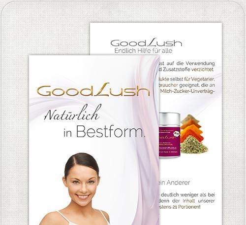 Bilddbearbeitung einer Frau und Logo-Design für Good Lush Flyer