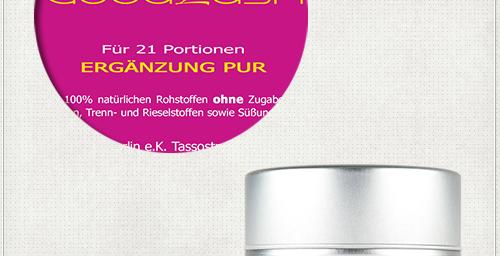 Detail eines pinken Etiketts für Diät-Produkt