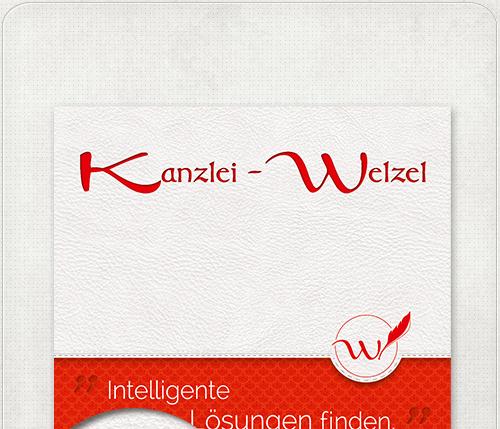 Flyer Gestaltung für Kanzlei mit Logo, Slogan und Designelementen