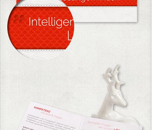 Detail der Flyer mit rotem Zierhintergrund und weißem Slogan