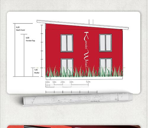 Entwurf anhand der Bauvorlagen für die Hausbeschriftung links