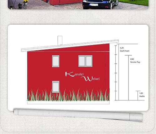 Entwurf der rechten Fassadenbeschriftung