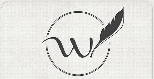 Logo mit Buchstabe -W- und Schreibfeder im offenen Kreis