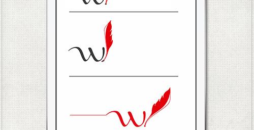 Logo-Entwürfe mit Buchstabe W und Schreibfeder