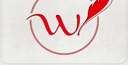 fertiges Logo-Design mit Buchstabe W und Schreibfeder im offenen Kreis