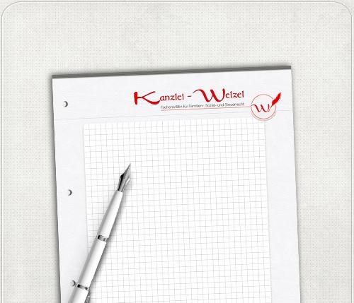 Gestaltung eines DIN A4 Schreibblockes mit 4-fach Lochung für die Kanzlei Welzel