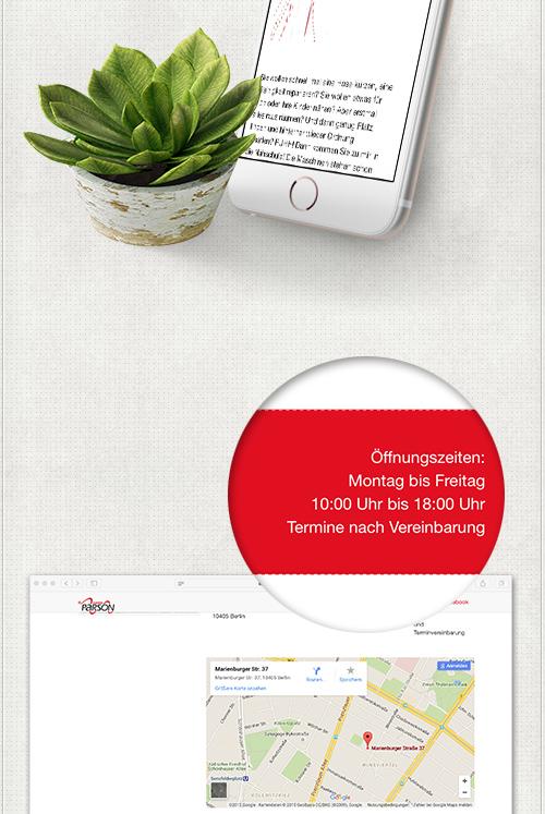 optimierte Internetseite für alle Bildschirme und Detail des Webdesigns mit rotem Hintergrund