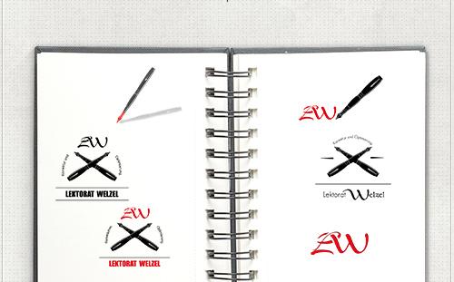 Entwürfe für das Logo mit Stift und Buchstaben