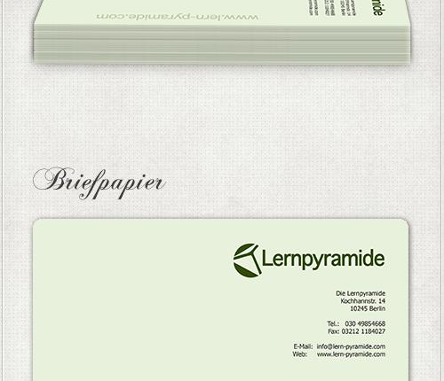 Gestaltung des Briefpapiers in zartem Grün