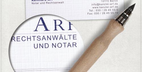 Detail des neu gestalteten Schriftzuges für Arf Rechtsanwälte und Notar