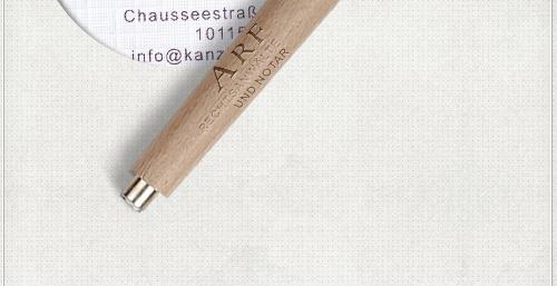 Detail der Gestaltung der Visitenkarten für die Kanzlei von Reinhard Arf