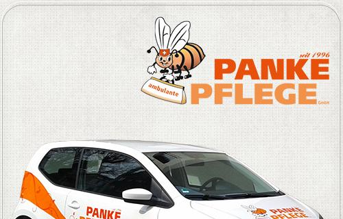 grafische Gestaltung der Autoaufkleber für Pankower Pflegedienst Panke-Pflege