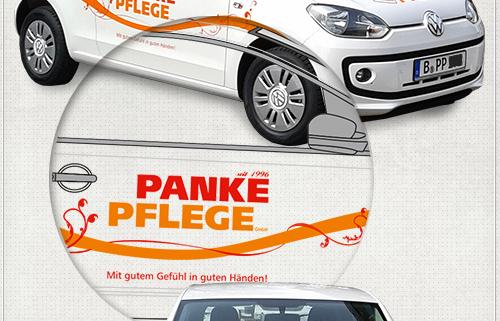 Detail der Gestaltung mit Logo, Slogan und Schmuckelementen