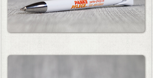 Gestaltung der Druckfläche vom Kugelschreiber der Panke Pflege