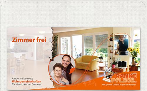 Gestaltung der Vorderseite mit Zimmer frei in großer Schrift und Fotos der WG samt Bewohner