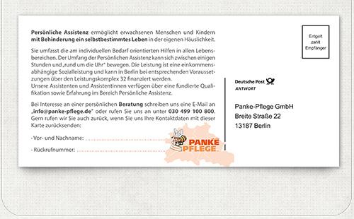 Gestaltung der Rückseite der Postkarte mit Informationen und Rückantwort