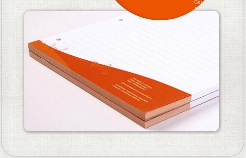 Schreibblock im Firmen-Design