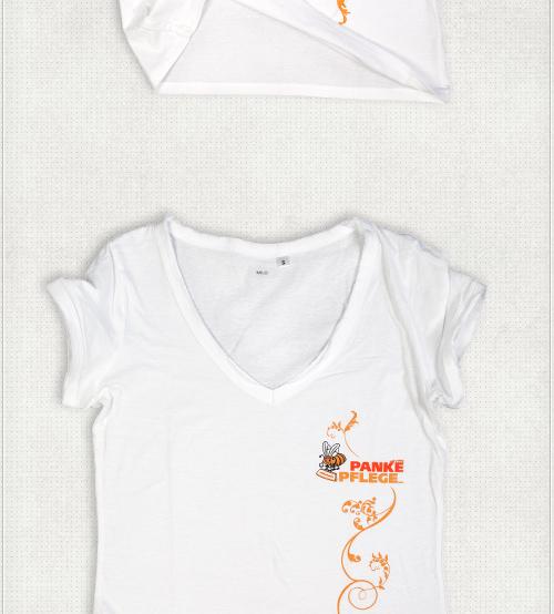 Design für V-Neck T-Shirts mit Logo und Zierelementen in Orange
