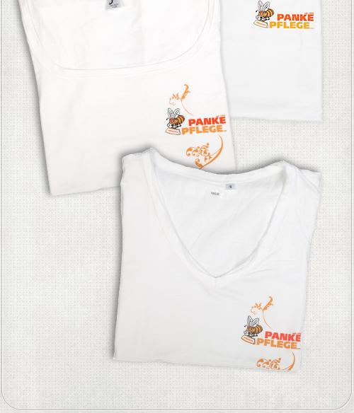 T-Shirt Design für Mitarbeiterinnen mit Logo und langer Zierranke