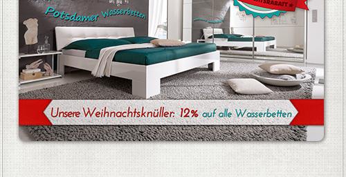 Gestaltung für Flyer mit Weihnachtsaktion Potsdamer Wasserbetten