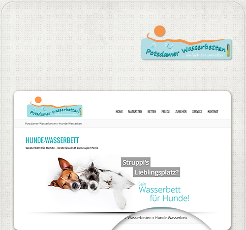 Bildbearbeitung für eine der Slideshows auf der Wordpress - Website für die Potsdamer Wasserbetten