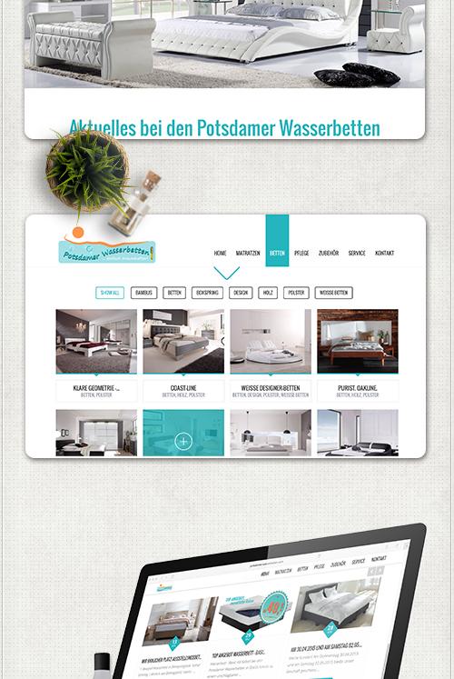 Design und Bildbearbeitung in Türkis, orange und weiß für die Potsdamer Wasserbetten Wordpress-Site