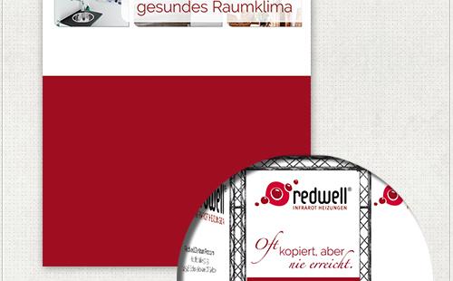 Detail der Gestaltung vom Messe-Banner mit der Redwell-Farbe Rot