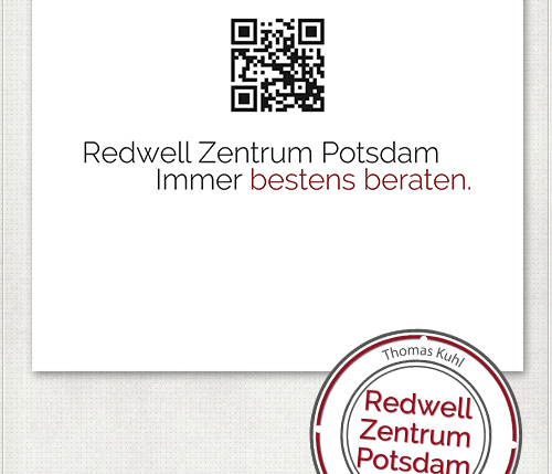 Gestaltung für das Messe-Banner mit Kontaktdaten und QR-Code