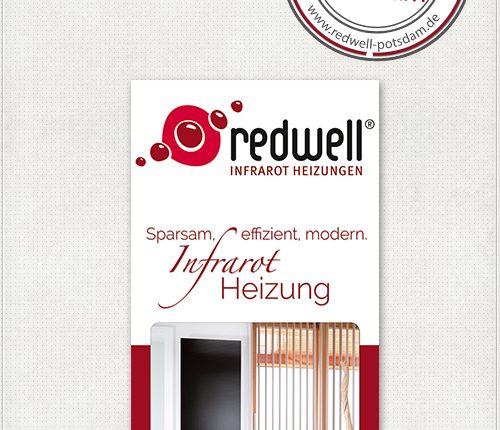 Gestaltung des 2,30 Meter hohen Werbe-Banners für Redwell-Infrarotheizungen für Clip - Messesystem