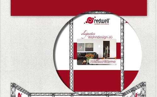 Detail vom Banner - Design für Redwell Zentrum Potsdam im Redwell-Rot