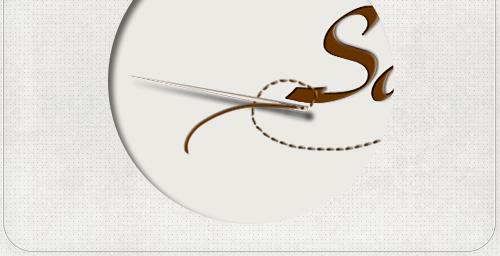 Detail des Logos mit Nadel und geschwungenem Faden