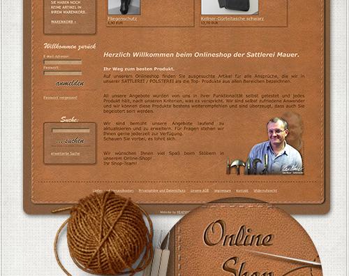 Gestaltung der Startseite mit aktuellen Produkten und kurzer Vorstellung der Sattlerei